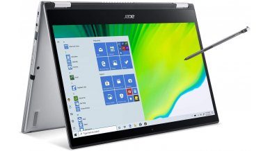 """Acer Spin 3 SP314-54N Convertible Laptop (10th Gen Core i5-1035G4, 8GB RAM, 512GB SSD, 14"""" Full HD IPS Touch + Active Stylus, Intel UHD Graphics, Windows 10, WiFi 6, Backlit KB, FPR) Pure Silver"""