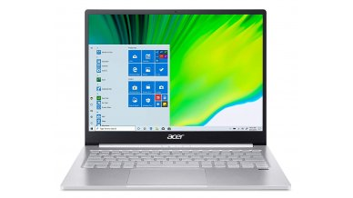 """Acer Swift 3 SF313-53 Ultra Thin and Light Notebook (11th Gen Core i5-1135G7, 8GB RAM, 512GB SSD, 13.5"""" IPS QHD Display, Intel Iris Xe Graphics, Windows 10, Office H&S 2019) Sparkly Silver"""