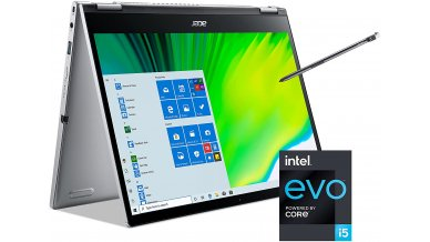 """Acer Spin 3 SP313-51N Convertible Laptop (11th Gen Core i5-1135G7, 8GB RAM, 512GB SSD, 13.3"""" 2560 x 1600 IPS Touch Display, Intel Iris Xe Graphics, Windows 10, Office H&S 2019, Wi-Fi 6, Backlit KB) Pure Silver"""