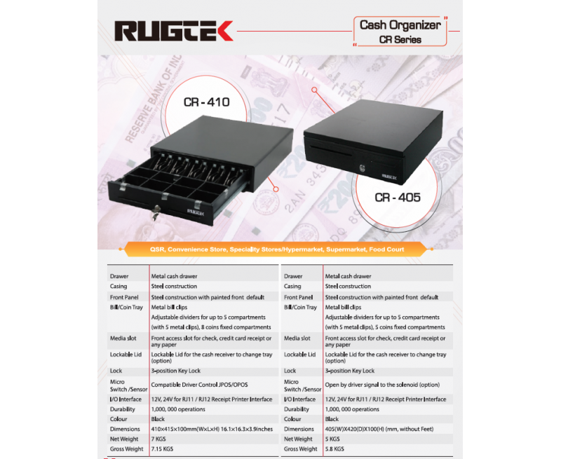 Rugtek CR-410 B Cash Organizer (Compact Metal Drawer w/fixed 5 note  & 5 coin compartment, 3 key lock position, RJ12 Receipt printer interface, Dimension: 410 W X 415 L X 100 H in mm)