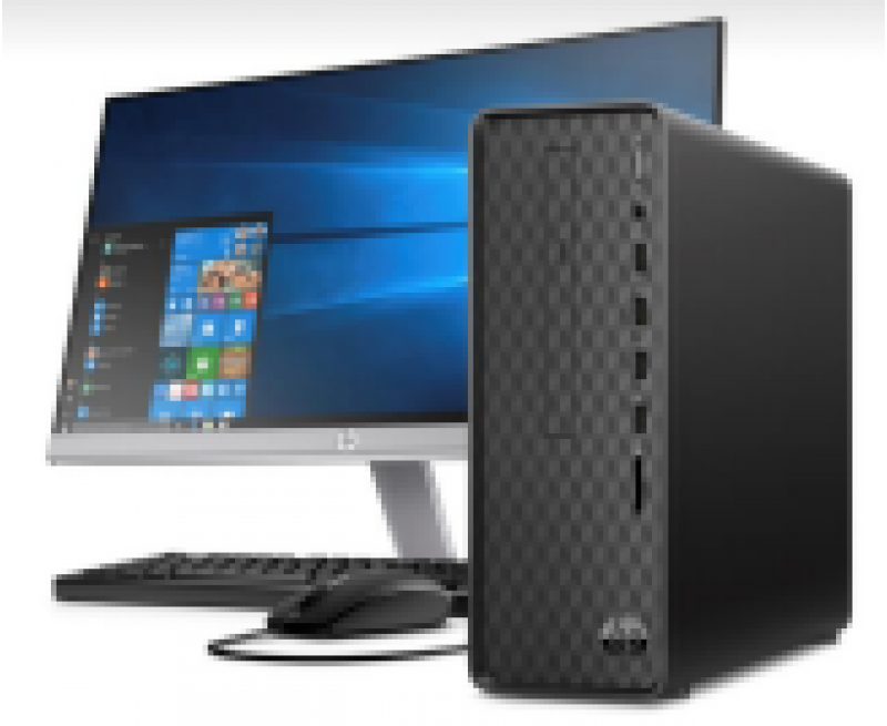 "HP Slimline Tower S01-pF0310il (9th Gen Core i5-9400 Hexacore, 4GB RAM, 1TB HDD, WLAN, BT, M.2 Slot, Intel HD Graphics, 22Y 21.5"" IPS Monitor, HP Wired Keyboard & Mouse, Card Reader, HDMI Out, DOS, 3 Years Warranty)"