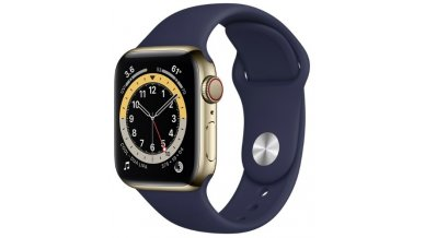 Apple Watch Series 6 GPS + Cellular, 40mm Gold Stainless Steel Case with Deep Navy Sport Band