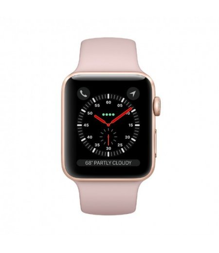 Apple Watch Series 3 (GPS + Cellular), 42mm Gold Aluminium Case with Pink Sand Sport Band (MQKP2HN/A)