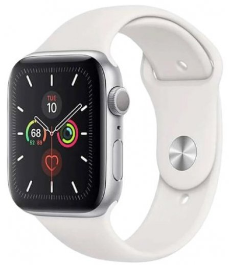 Apple Watch Series 5 GPS + Cellular, 40mm Silver Aluminium Case with White Sport Band