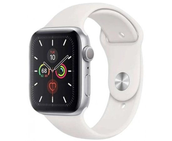 Apple Watch Series 5 GPS, 44mm Silver Aluminium Case with White Sport Band