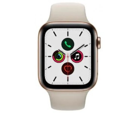 Apple Watch Series 5 GPS + Cellular, 44mm Gold Stainless Steel Case with Stone Sport Band