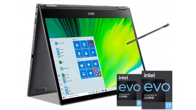 """Acer Spin 5 SP513-55N Convertible Laptop with Active Stylus Pen ( 11th Gen Core i7-1165G7, 16GB RAM, 512GB SSD, 13.5"""" 2256x1504 IPS VertiView Display, Iris Xe Graphics, Windows 10, Office H&S 2019) Steel Gray"""